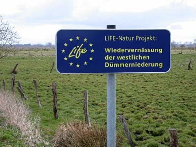Small sign for the LIFE project
