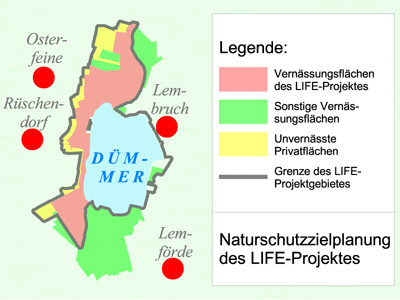 "Overview map: LIFE project ""Western lowland area of the Dümmer lake"""